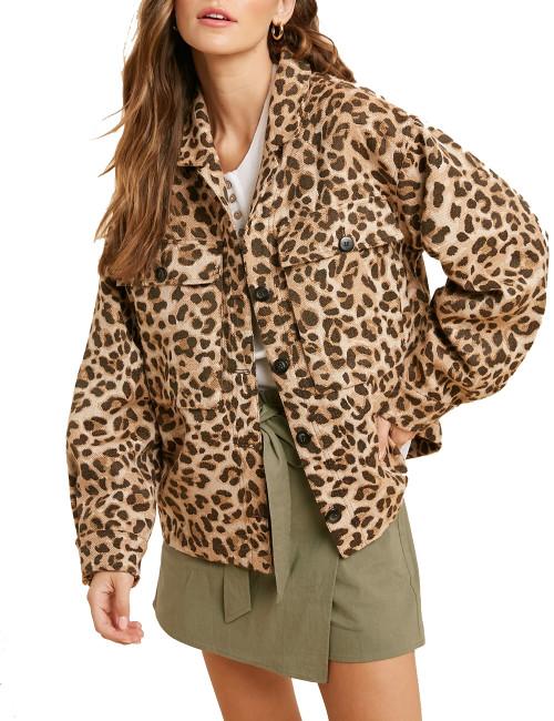Wishlist Women's Leopard Print Twin Flap Pocket Jacket