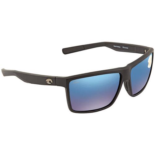 Costa Del Mar Rinconcito Matte Black Sunglasses, Blue Mirror 580P Lens