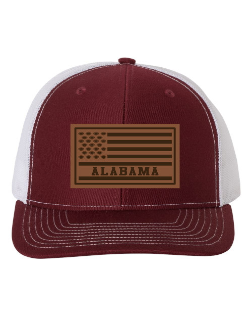 Football Team Colors American Flag Laser Engraved Leather Patch Mesh Back Trucker Hat