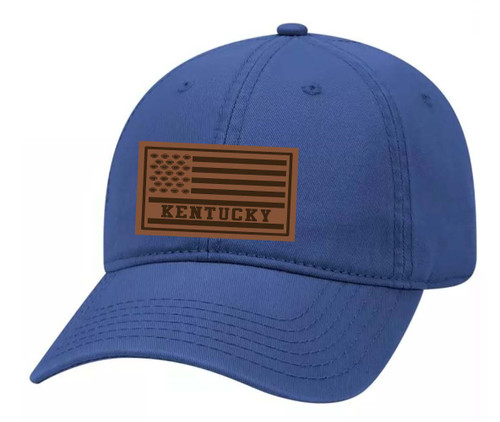 Football Team Colors American Flag Laser Engraved Leather Patch Twill Dad Hat With Metal Buckle Back