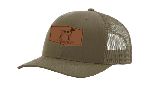 It's All About the South Pointer Outline Laser Engraved Leather Patch Trucker Hat