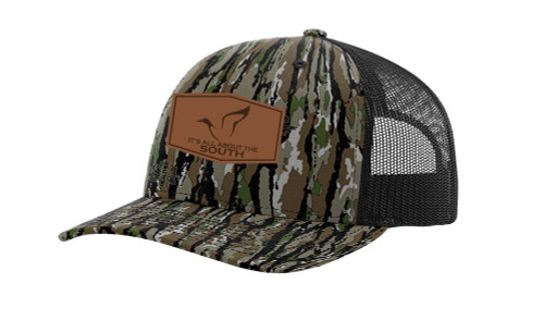 It's All About the South Mallard Outline Laser Engraved Leather Patch Trucker Hat