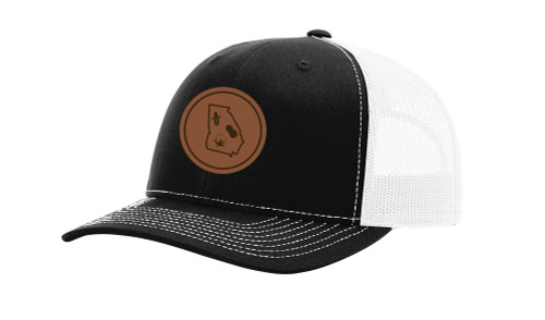 It's All About the South Georgia Outline With Crops Laser Engraved Leather Patch Trucker Hat