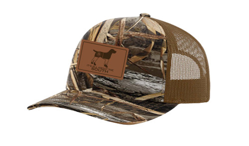 It's All About the South Pointer Outline Georgia Flag Laser Engraved Leather Patch Trucker Hat