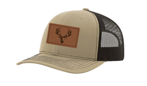 It's All About the South Deer Antlers Georgia Flag Laser Engraved Leather Patch Trucker Hat