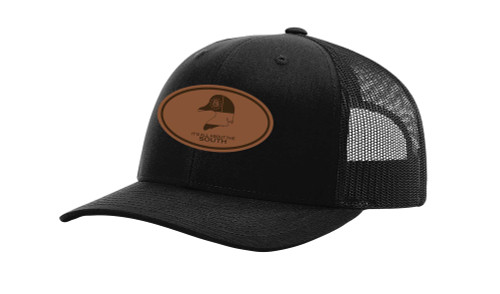 It's All About the South Wood Duck Georgia Flag Laser Engraved Leather Patch Trucker Hat
