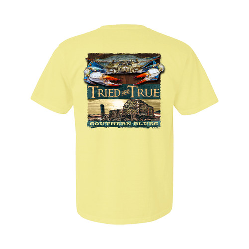 Tried and True Crab Crates Southern Blues Unisex Comfort Colors Shirt Sleeve T-Shirt