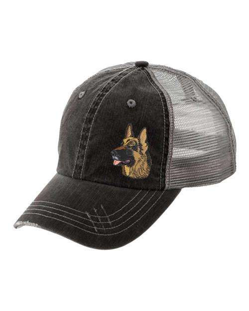 Women's Embroidered German Shepherd Head Dog Breed Distressed Hat
