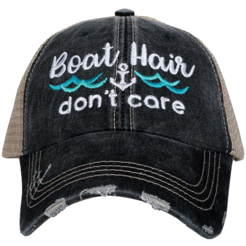 Katydid Boat Hair Don't Care Waves Embroidered Women's Trucker Hat