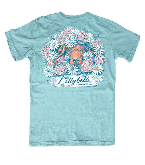 Lillybelle Clothing Women's Puppy Flowers Comfort Colors Short Sleeve T-Shirt
