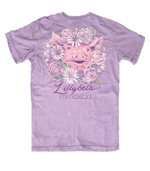 Lillybelle Clothing Women's Flower Pig Comfort Colors Short Sleeve T-Shirt