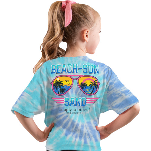 Simply Southern Youth Sun Sand Aviator Sunglasses Short Sleeve T-Shirt