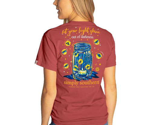 Simply Southern Youth Let Your Light Shine Out Of Darkness Mason Jar Short Sleeve T-Shirt