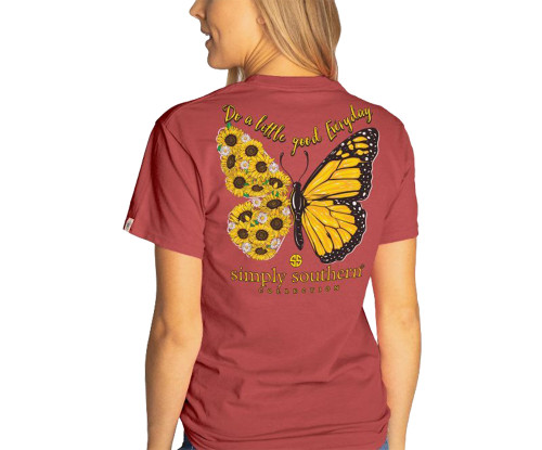 Simply Southern Youth Do A Little Good Everyday Sunflower Butterfly Short Sleeve T-Shirt