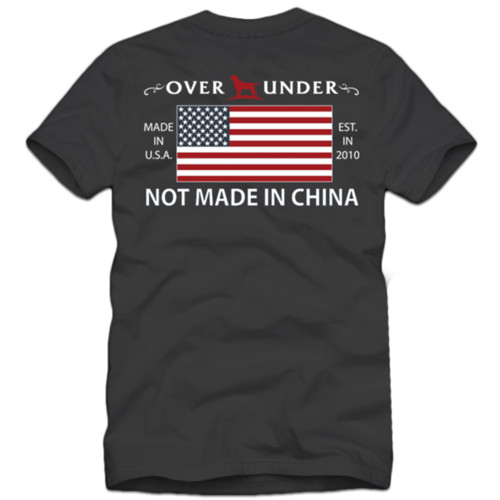 Over Under Not Made In China Made In USA American Flag Adult Unisex Short Sleeve T-Shirt
