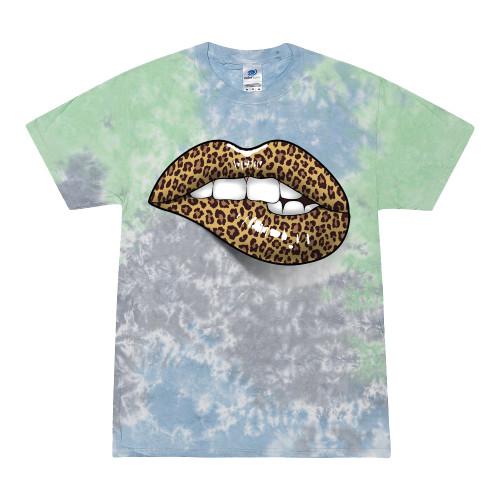 Trenz Shirt Company Women's Cheetah Animal Print Lips Unisex Fit Short Sleeve Tie Dye T-Shirt