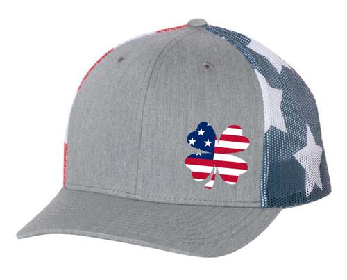Men's Golf Lucky American Flag Clover Embroidered Mesh Back Trucker Hat