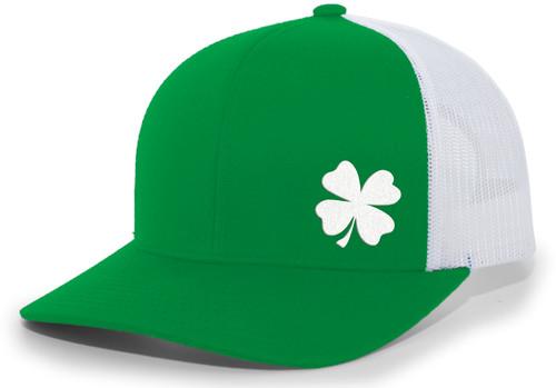 Men's Lucky Clover Shamrock Off-Center Embroidered Golf Mesh Back Trucker Hat