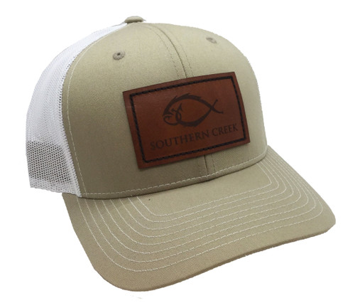 Southern Creek Classic Logo Fishing Hook Leather Patch Adjustable Trucker Hat