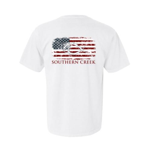 Southern Creek American Flag Classic Logo Outdoors Sporting Fishing Hook Adult Unisex Short Sleeve T-Shirt