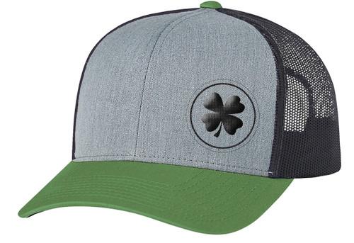 Men's Lucky Clover Circle Shamrock Off-Center Embroidered Golf Mesh Back Trucker Hat