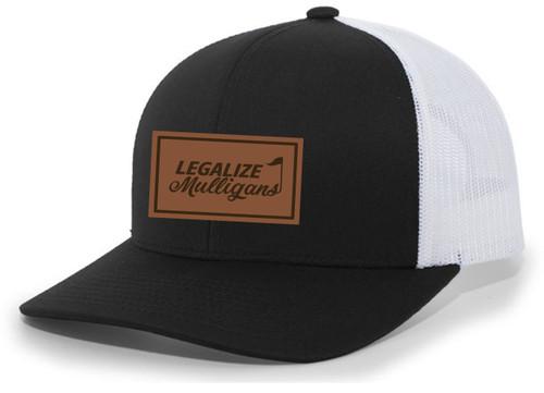 Men's Golf Legalize Mulligans Golfing Lucky Engraved Leather Patch Mesh Back Trucker Hat