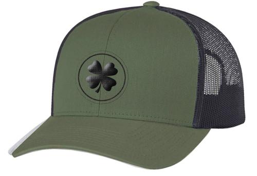 Men's Lucky Clover Circle Shamrock Center Embroidered Golf Mesh Back Trucker Hat