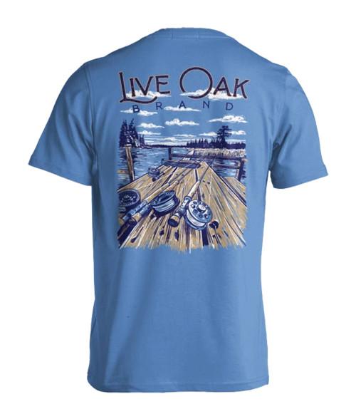 Live Oak Brand Fishing Rod Dock Lake Adult Short Sleeve Comfort Colors T-Shirt