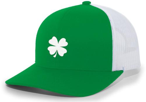 Men's Lucky Clover Shamrock Center Embroidered Golf Mesh Back Trucker Hat