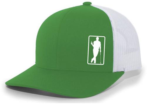 Men's Golfer Drinking Beer Bottle Golf Mesh Back Trucker Hat