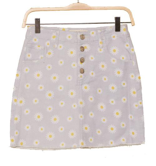 Peach Love California Women's Daisy Print Button Down Fly Mini Denim Skirt