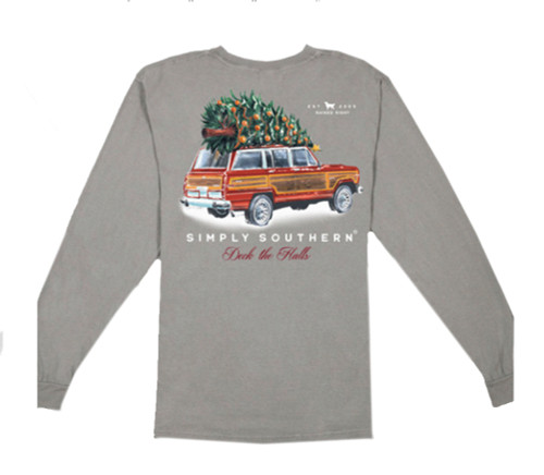 Simply Southern Men's Deck The Halls Christmas Tree Comfort Colors Long Sleeve T-Shirt