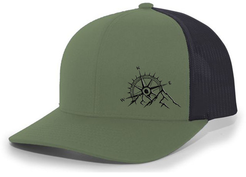 Men's Outdoors Mountain Scenic Forest Compass Woodland Embroidered Mesh Back Trucker Hat
