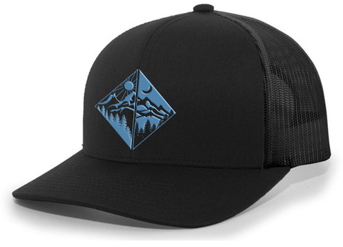 Men's Outdoors Geometric Mirror Scenic Forest Woodland Embroidered Mesh Back Trucker Hat