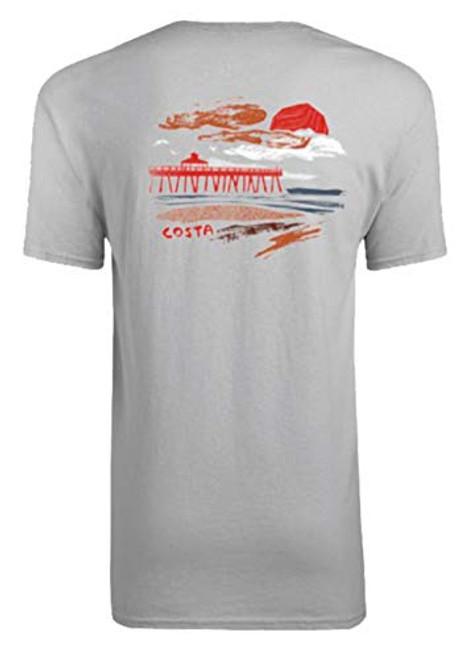 Costa Del Mar Sunrise Pier Short Sleeve Tee Shirt Maroon