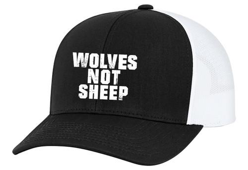 Men's Wolves Not Sheep Patriotic Embroidered Mesh Back Trucker Hat