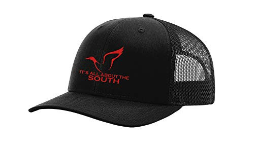 It's All About The South Duck Logo Trucker Mesh Snapback Hat Black Black Mesh