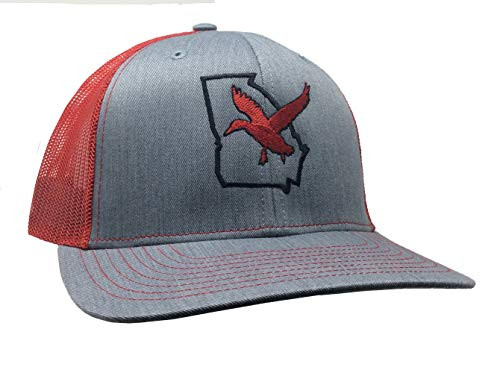 It's All About The South Georgia Ouline Duck Trucker Mesh Snapback Hat Heather Gray Red Mesh
