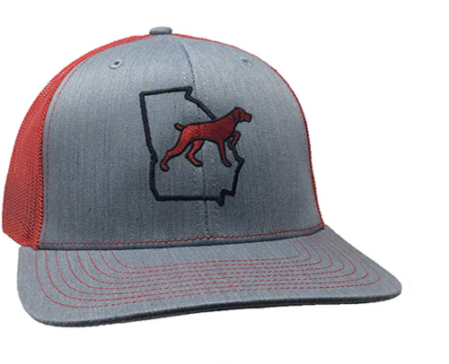 It's All About The South Georgia Outline Dog Trucker Mesh Snapback Hat Heather Gray Red Mesh