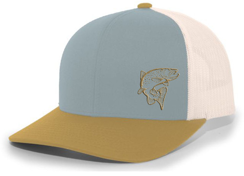 Men's Jumping Trout Fishing Embroidered Mesh Back Trucker Hat