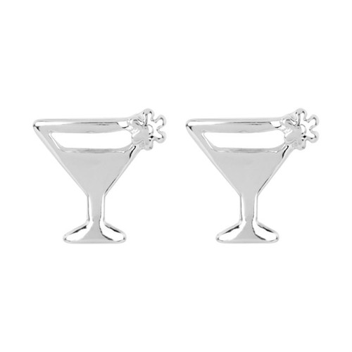 Whispers Dainty Stud Earrings Cocktail, Silver