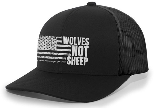 Men's Wolves Not Sheep Patriotic Embroidered American Flag Mesh Back Trucker Hat