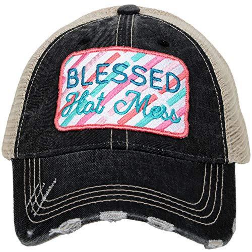 Katydid Womens Hot Mess Patch Trucker Hat Black