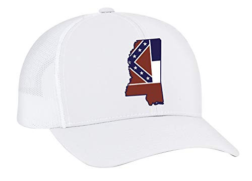 Heritage Pride Mississippi State Flag Embroidered Trucker Mesh Snapback Hat White White Mesh