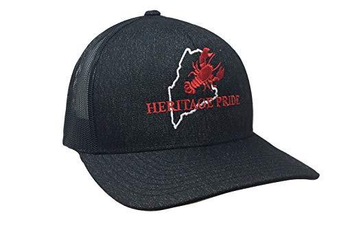 Heritage Pride Maine Lobster State Pride Trucker Mesh Hat  Black Heather Black Mesh