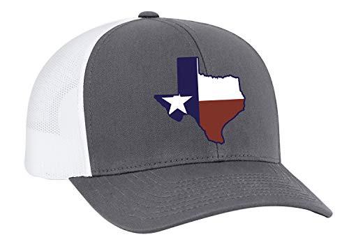Heritage Pride Texas State Flag Embroidered Trucker Mesh Snapback Hat Granite White Mesh