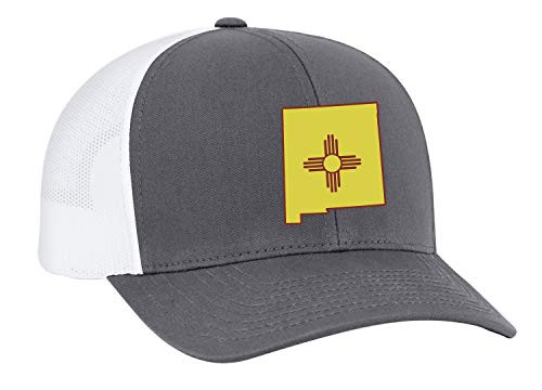 Heritage Pride New Mexico State Flag Embroidered Trucker Mesh Snapback Hat Graphite White Mesh