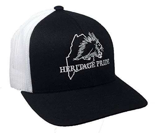 Heritage Pride Maine Porcupine State Pride Trucker Mesh Hat- Black, White Mesh