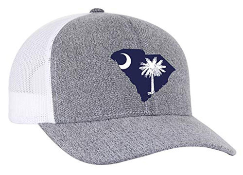 Heritage Pride South Carolina State Flag Embroidered Trucker Mesh Snapback Hat Gray Heather White Mesh