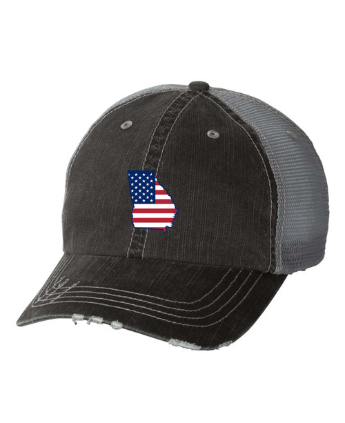 Women's American Flag State Pride State Outline Distressed Baseball Cap
